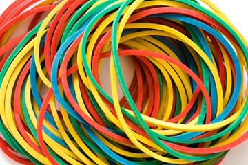 Multi-coloured elastic bands