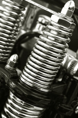 Wall Mural - chromed motorcycle suspension springs close-up