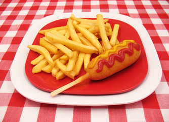 Corn Dog and French Fries