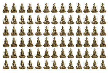 many small buddhas on white background