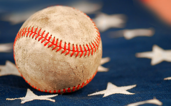 Old Baseball on Flag