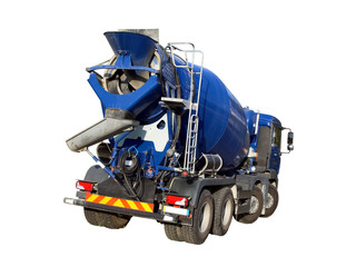 Blue Cement Mixer Truck isolated on white.