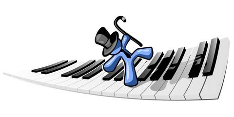 Blue Man Dancing on Piano Keys