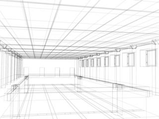 3d sketch of an interior of a public buildin