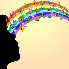 niña, arco iris y mariposas de colores sobre amarillo