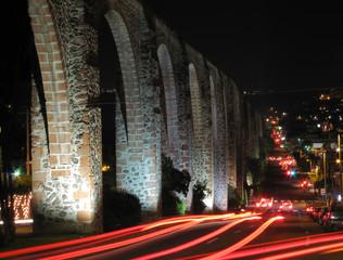 Historic aqueduct in Queretaro, Mexico.