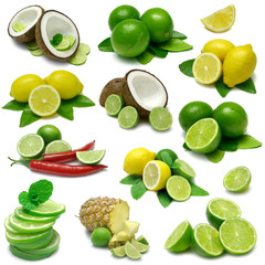 Lime and Lemon Combinations - Sampler with clipping paths