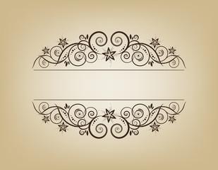 Vintage frame. Elegant. Beige. Symmetric inward.