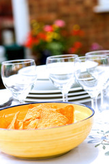 Outdoor table setting for alfresco lunch
