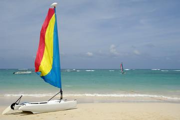 Sailboat on caribbean beach