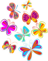 bright butterflies - vector