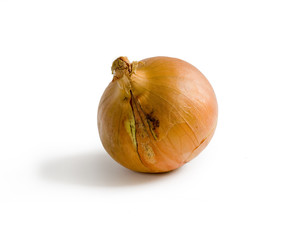 Isolated onion with shadow on white background. Clipping path