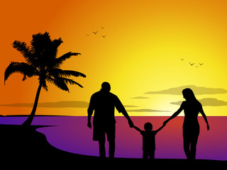 Family at sunset on a tropical beach