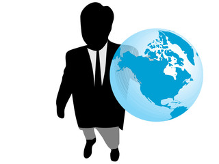 Businessman holding in his hand the planet