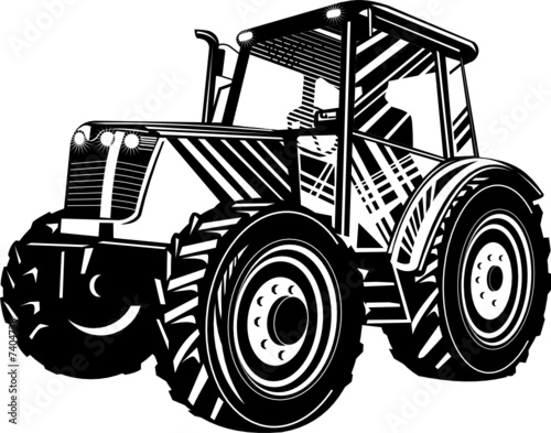 Black White An D Tractor Pulling Wagon : Quot farm tractor stock image and royalty free vector files