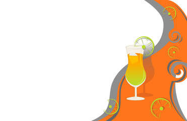 Cocktail card orange and grey with limes.