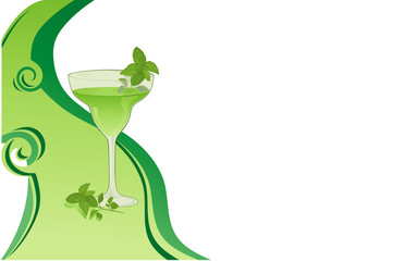 Drink green background with mint.