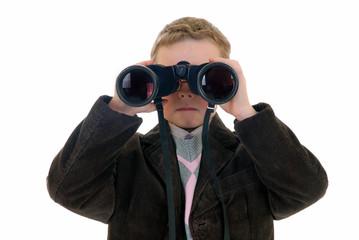Young boy with binoculars