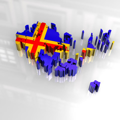 3d flag map of aaland
