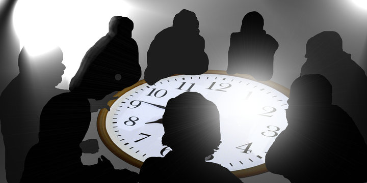 Secret Business Meeting on a clock table