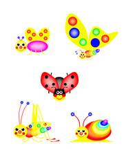 Funny ladybird, butterfly, grasshopper, snail, fly
