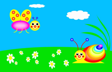 Funny snail and butterfly