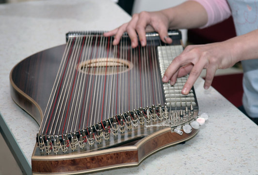 Detail of playing on zither musical instrument.