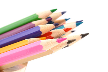 Multicolored pencil on white background