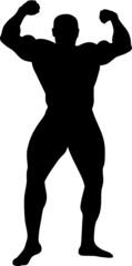 sport illustration. vector silhouette of bodybuilder