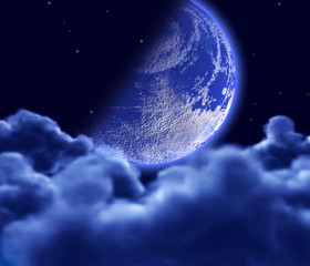Lunar sky with blue clouds and stars
