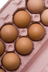 Detail carton of eggs