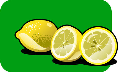 Vector color illustration of a lemon.