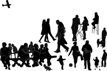 Promenade in resort town, scalable vector illustratin