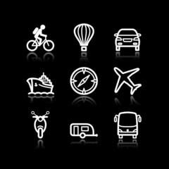 White contour web icons, set 20