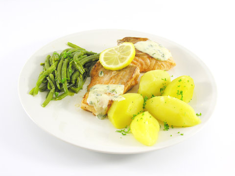 Filet de saumon, haricots, pomme de terre