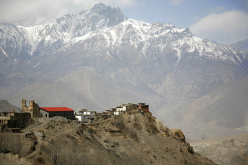 Jharkot village and  mountains from muktinath, annapurna,