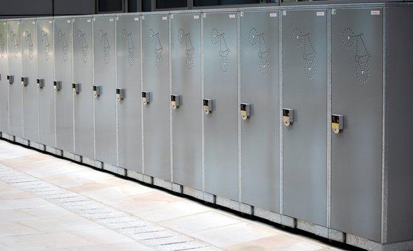 bike lockers in a city centre