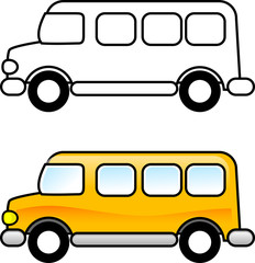 coloring illustration - School Bus