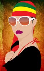 hot woman wearing shawl of rasta color