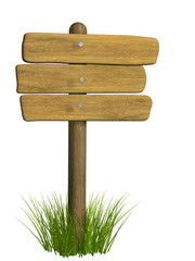Wooden signboard from three boards