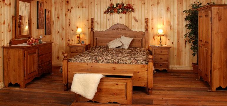 Ensemble de chambre à coucher en pin naturel