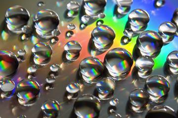 Water Drops with thick rainbow line