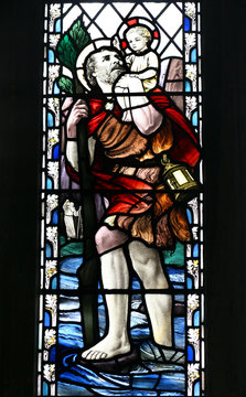 stained glass, St Christopher
