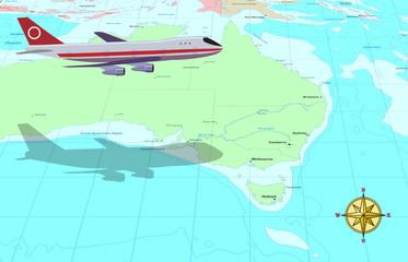 Travel conceptual illustration: a plane flying over Australia