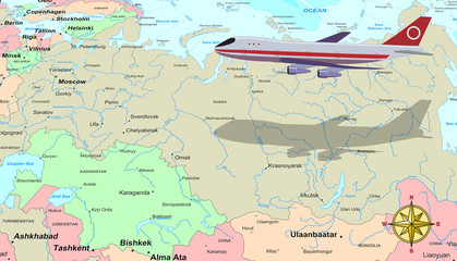 Travel conceptual illustration: a plane flying over Russia map