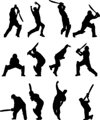 Cricket silhouettes