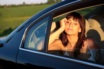 dreaming girl car