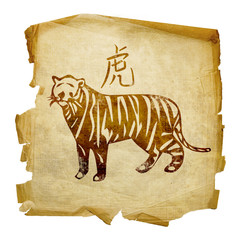 Tiger Zodiac icon, isolated on white background.