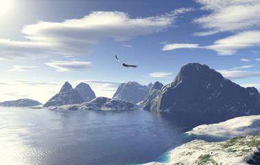 Lago glaciale con aquila in volo