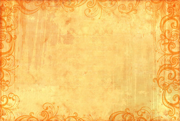 Old textured wallpaper with floral patterns